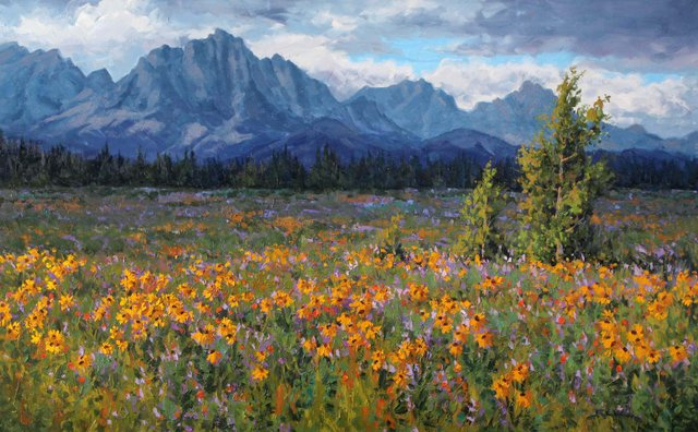 "Robert E Wood, ""Yamnuska Meadow,"" nd"