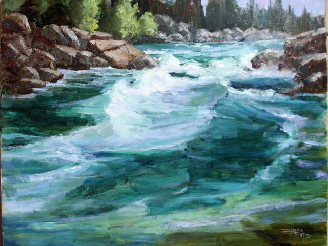 """Linda Tippetts, """"Floating Glacier's Middle Fork,"""" nd"""