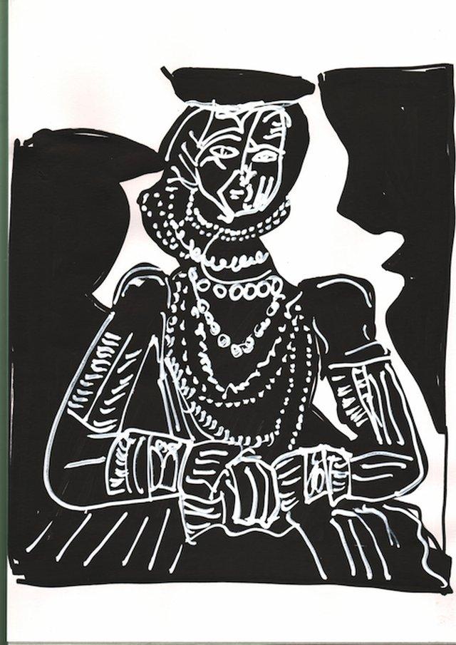 """Ryan Gander, """"An attempt at a facsimile of Pablo Picasso's Portrait de jeune fille, d'après Cranach le Jeune II, (1958),"""" 2017"""