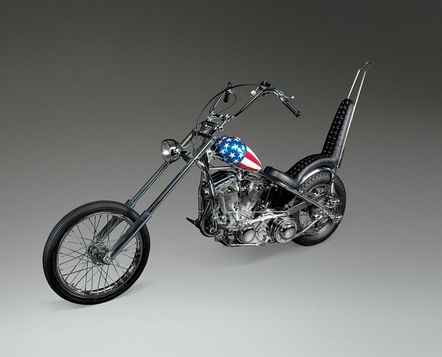 "Cliff Vaughs, Captain America Panhead Chopper Motorcycle from Dennis Hopper's ""Easy Rider,"" about 1969"