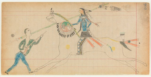 """Unknown Cheyenne artist, """"Vincent Price Ledger Book, p. 202,"""" about 1875-1878"""