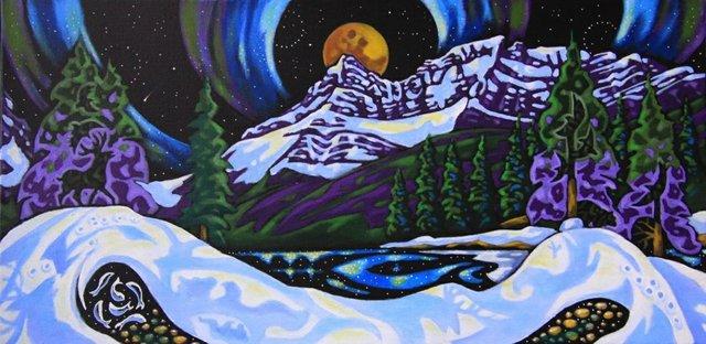 "K. Neil Swanson, ""Bow Lake Moon,"" nd"