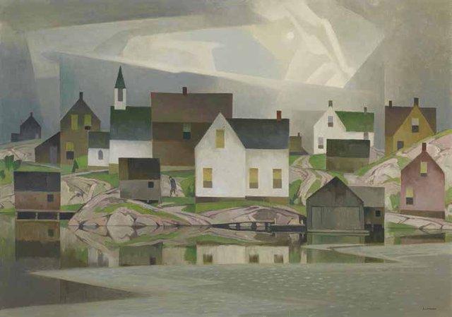 "A.J. Casson, ""Old Lumber Village,"" circa 1958"
