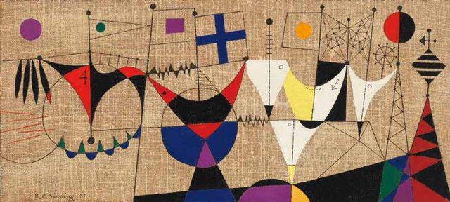 "B.C. Binning, ""Gay Regatta with Purple Sun (second version),"" 1954"