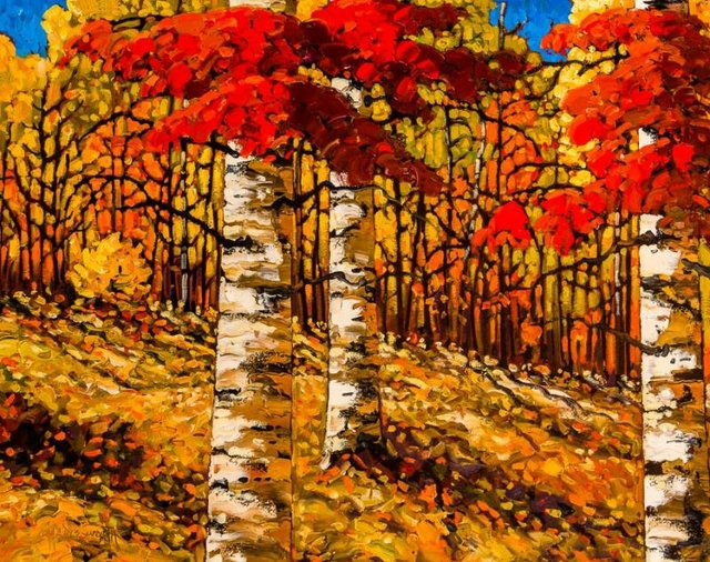 """Rod Charlesworth, """"Autumn Wood Red and Gold,"""" nd"""