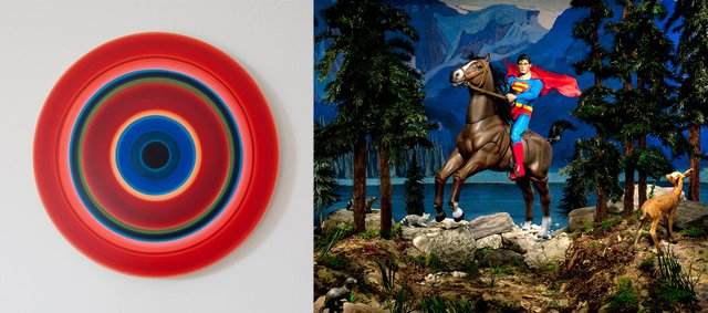 """Ulrich Panzer, """"Untitled Circular 17 #1,"""" 2014 and Diana Thorneycroft, """"Lake O'Hara (Clark, Northern Dancer and the Evil Weasel), ed. 5/5,"""" 2012"""