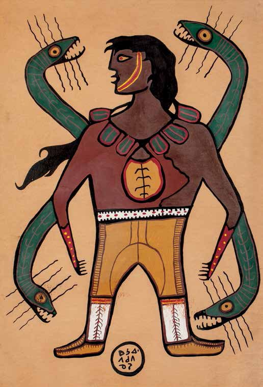 """Norval Morrisseau, """"Anishnaabe, Shaman and Snakes,"""" mid-1960s"""