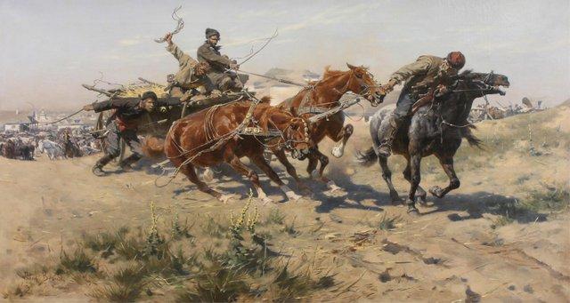 """Josef Von Brandt, """"Return from the Horse Market,"""" circa 1884"""