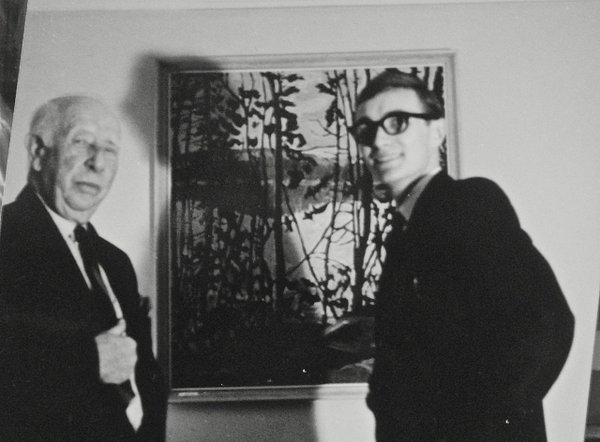 A.Y. Jackson and Robert McInnis, 1965 with the latter's entry in the Maritime Artist's Association exhibition.