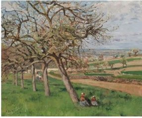 "Camille Pissarro, ""Pommiers en Fleur,"" 1870"