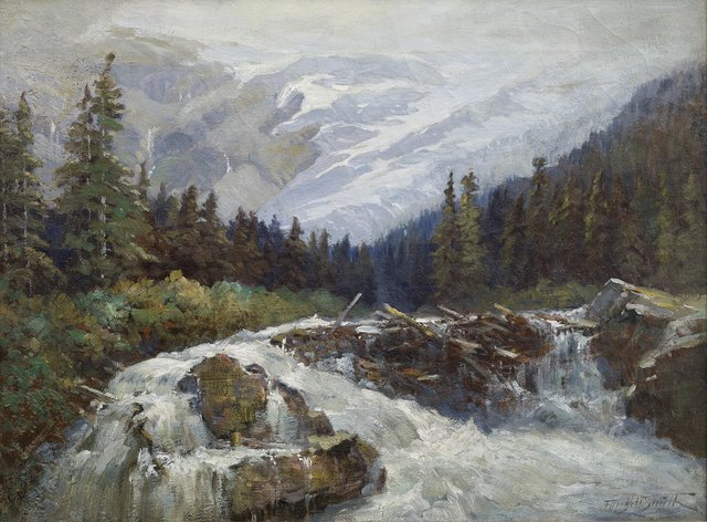 """Frederic Marlett Bell-Smith, """"Illecillewaet River and Glacier,"""" 1890-1900"""