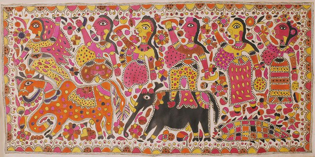 "Jamuna Devi, ""Raja Salhesh with his two brothers and three flower maidens,"" (c. 2000)"