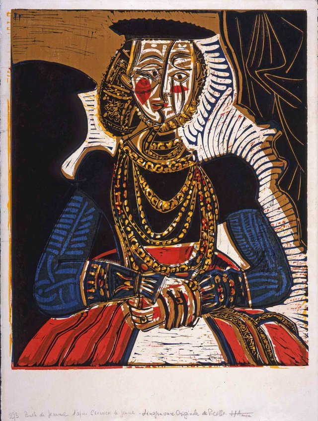 """Pablo Picasso, """"Portrait de Jeune Fille, d'après Cranach le Jeune II,"""" 1958"""