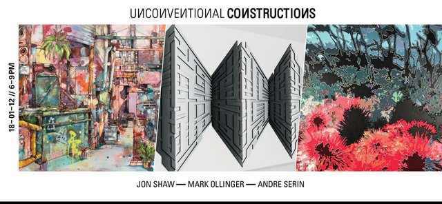 """Jon Shaw, Mark Ollinger, Andre Serin, """"Unconventional Constructions,"""" 2018"""