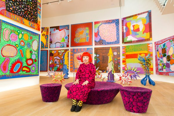 Yayoi Kusama with recent works in Tokyo, 2016
