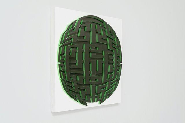 """Mark Ollinger, """"Sphere Study,"""" (side view) 2017"""