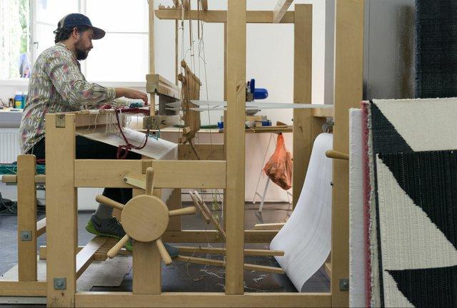 Brent Wadden weaves in his studio, 2015