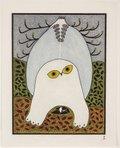 "Ningiukulu Teevee (Canadian (Cape Dorset), b. 1963) printmaker: Qiatsuq Niviaqsi, b. 1941, ""Opulent Owl,"" 2015"
