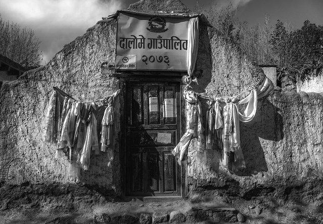 """Anne Tapler White, """"The Voting Office, Ghami, Nepal,"""" 2017"""