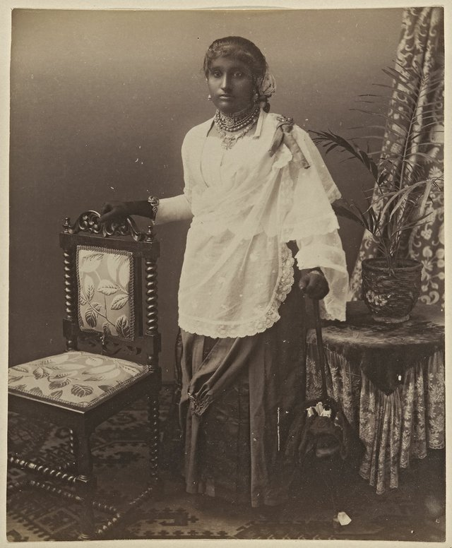 "Unknown photographer, ""Portrait of a Ceylonese Girl with Umbrella,"" circa 1860-1900"