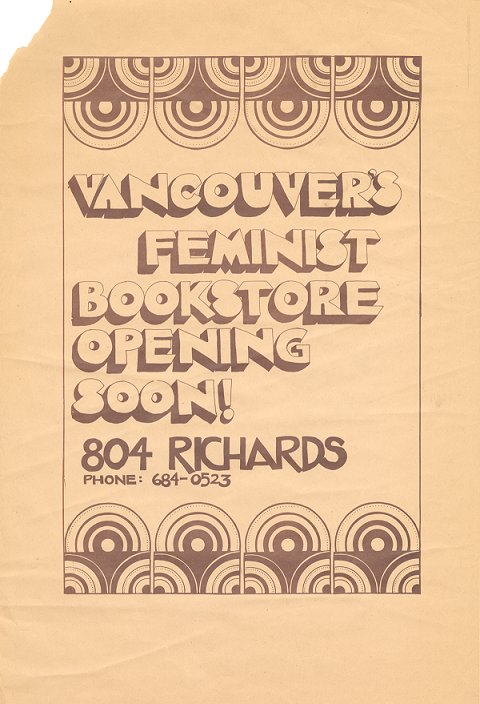 Vancouver Women's Bookstore launch poster, 1973