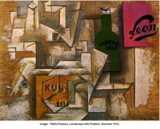 """Pablo Picasso, """"Landscape with Posters,"""" summer 1912"""