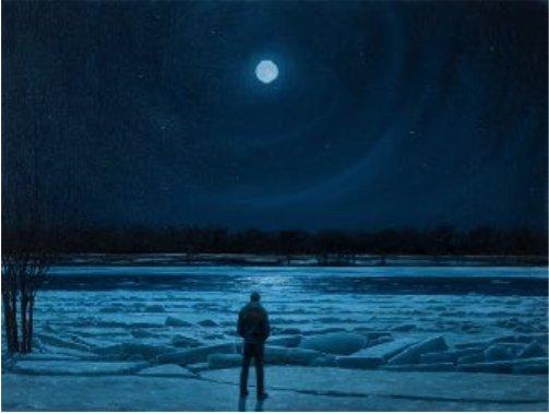 """Tim Gardner,  """"Man in moonlight, Red River,"""" 2017"""