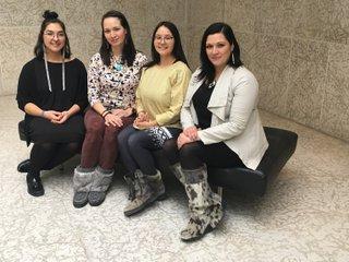 L-R: Jade Nasogaluak Carpenter, Krista Ulujuk Zawadski, Asinnajaq, and Dr. Heather Igloliorte