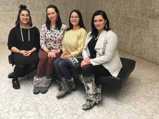 L-R: Jade Nasogaluak Carpenter, Krista Ulujuk Zawadski, Asinnajaq, and Dr. Heather Igloliorte