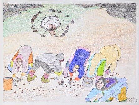 "Shuvinai Ashoona, ""Shoreline Harvest,"" 2013"