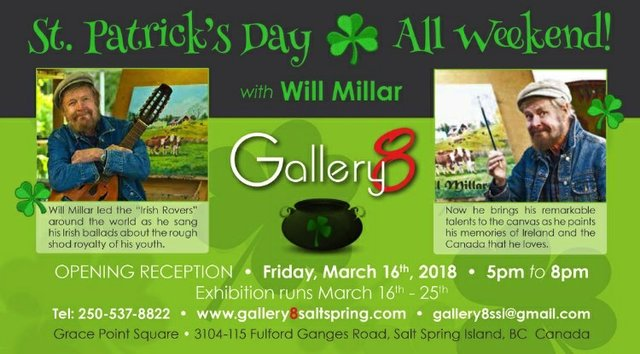 "Will Millar, ""Gallery 8 St. Patrick's Day Exhibition,"" 2018"