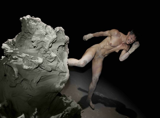 """Cassils, """"Becoming An Image, Performance Still No. 4"""" (National Theater Studio, SPILL Festival, London), 2013"""