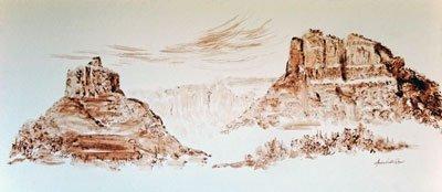 "Sandra Westre Chow, ""Bell Rock and Courthouse Rock by Oak Creek Village of Sedona, Arizona,"" 2017"