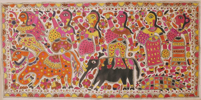 "Jamuna Devi, ""Raja Salhesh with his Two Brothers and Three Flower Maidens,"" c. 2000"