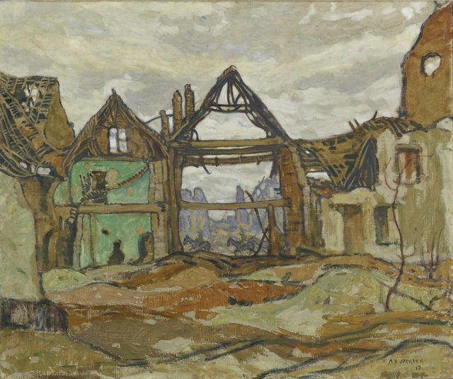 "AY Jackson, ""Houses of Ypres,"" 1917"