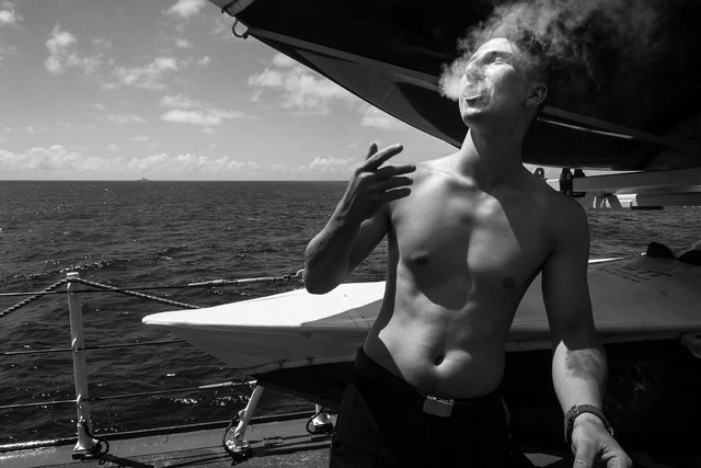 """Kathryn Mussallem, """"On the Smoke Deck, Pacific Ocean, June 2016,"""" archival pigment print"""