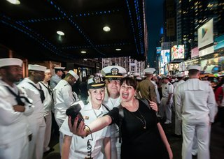 "Kathryn Mussallem, ""Selfie with Some Sailors, New York, NY, May 2014"" (courtesy of the artist)"