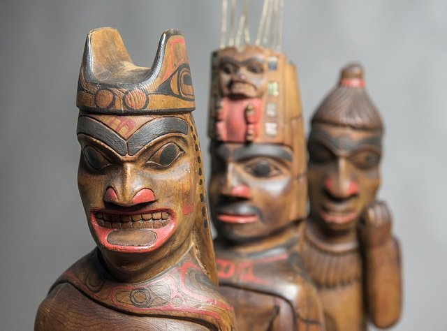 "Louis Collinson (1881-1970), Haida, Skidegate, ""Shaman, Chief and Human figures,"" nd"