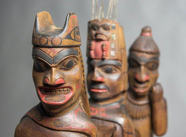 "Louis Collinson (1881-1970), Haida, Skidegate, ""Shaman, Chief and Human figures,"" nd"