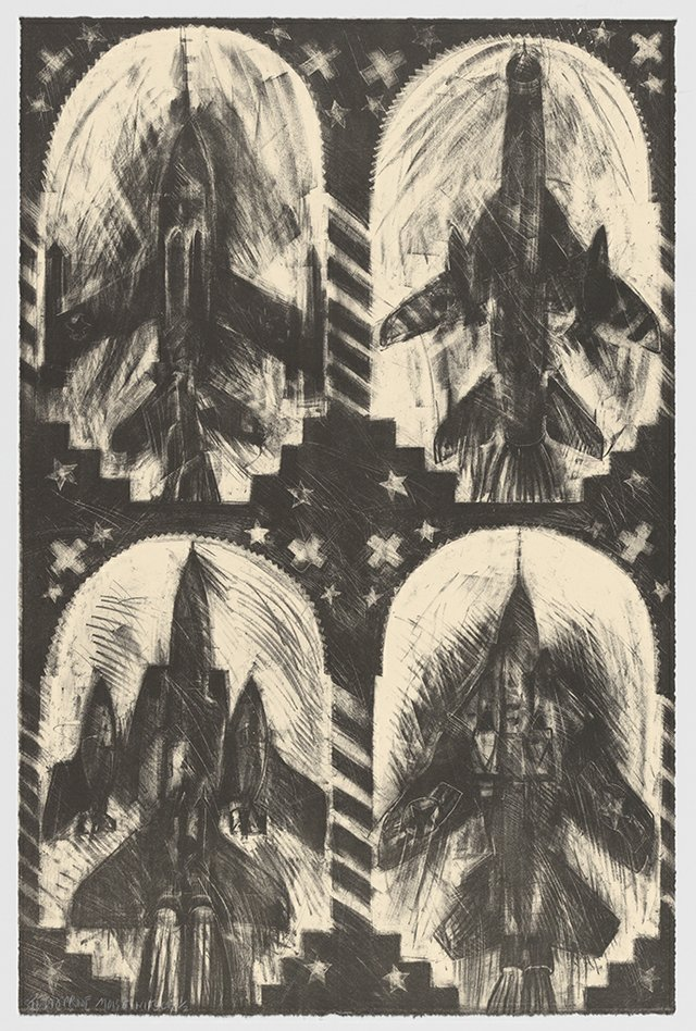 """Carel Moiseiwitsch, """"Untitled (Four Black Jets),"""" 1992"""
