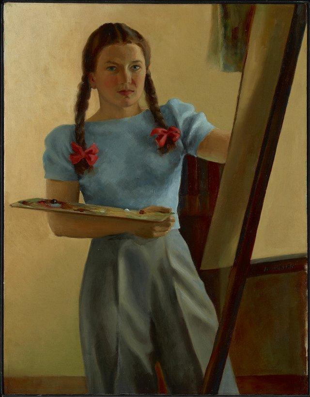 "Alma Duncan, ""Self-Portrait with Braids,"" 1940"