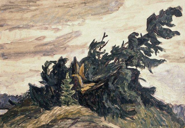 """Robert Bateman, """"Fallen Spruce,"""" 1950"""