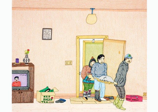 """Annie Pootoogook, """"Bringing Home Food,"""" 2003-2004"""