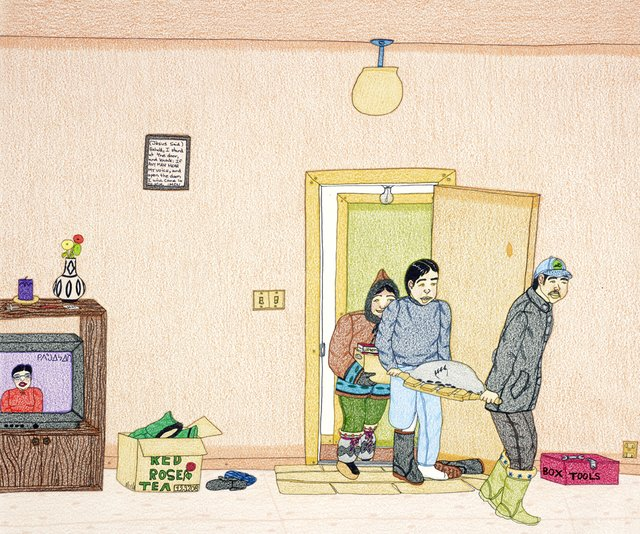 "Annie Pootoogook, ""Bringing Home Food,"" 2003-2004"