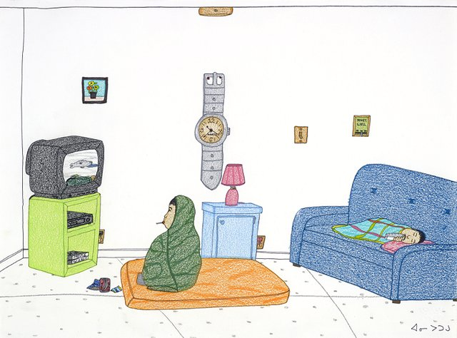 "Annie Pootoogook, ""Watching Hunting Shows,"" 2004"
