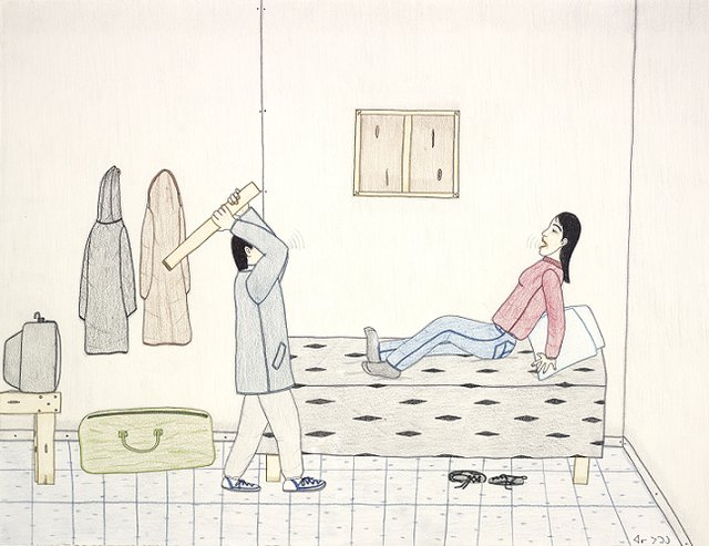 "Annie Pootoogook, ""Man Abusing His Partner,"" 2002"