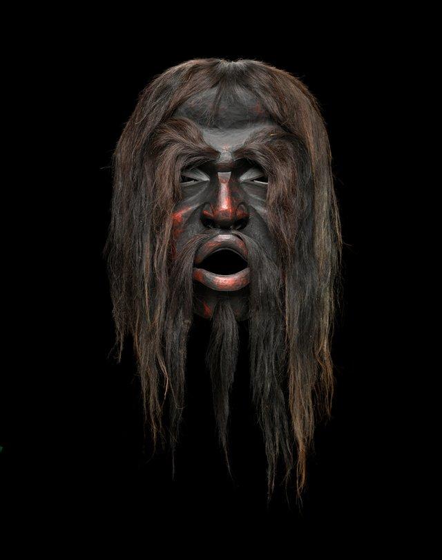 "Beau Dick, ""Dzunukwa mask (detail),"" 2007"