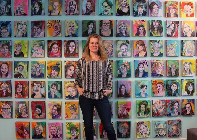 "Veronica Funk poses with ""Nasty Women,"" 2018"
