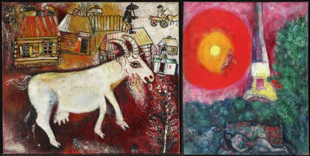 "A tale of two Marc Chagall paintings: On the left, to be retained in the collection, is ""Memories of Childhood,"" 1924"