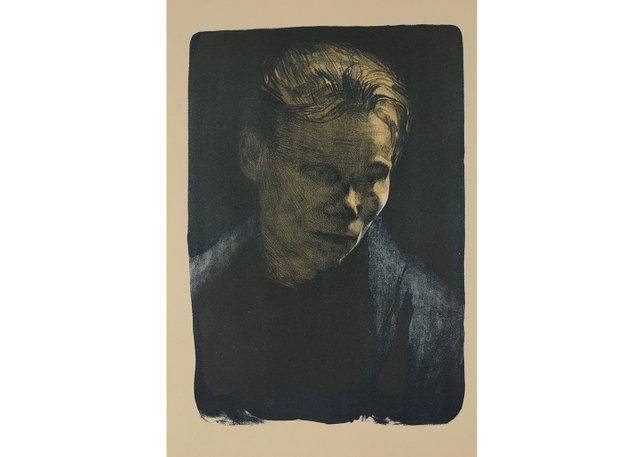 "Käthe Kollwitz, ""Brustbild einer Arbeiterfrau mit blauem Tuch (Bust of a Working Class Woman With a Blue Shawl),"" 1903"
